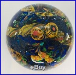 David Lindsay Vintage Blue & Yellow Art Glass Paperweight 2005
