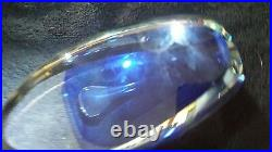 ED KACHURIK 2004 Signed Large Blue & Clear Art Glass Sculpture 7 X 3.75