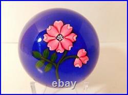 ENCHANTING & Vintage Peter McDougall PINK TUDOR ROSE & Bud Art Glass Paperweight