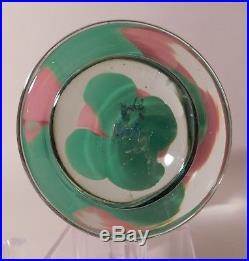 ENCHANTING Vintage Signed HANSON PINK CRIMP ROSE Pedestal Art Glass Paperweight
