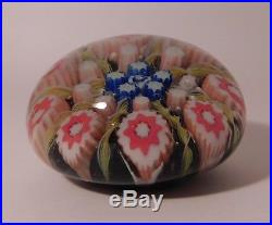 EXCEPTIONAL Vintage PAUL YSART Concentric Pin Wheel Art Glass Paperweight