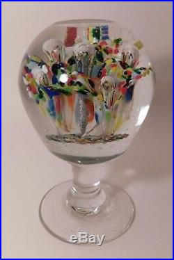 EXTRAORDINARY Antique Millville FOOTED Rainbow Color TRUMPET FLOWERS Paperweight