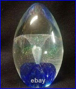 Eickholt Dichroic Iridescent Fountain Blue Glass Paperweight Signed 93,3 1/2