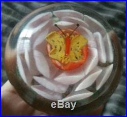 Exceptional Vintage Chinese Lampwork Butterfly & Lotus Art Glass Paperweight