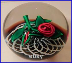 FABULOUS an Vintage Signed CHARLES KAZIUN Jr ROSE with BUD Art Glass Paperweight