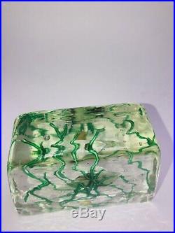 FANTASTIC 1940s VINTAGE MURANO ART GLASS AQUARIUM PAPERWEIGHT CENDESSE BLOCK