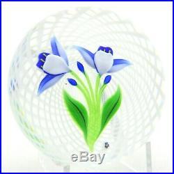 FANTASTIC Vintage BACCARAT Vivid Blue VIOLET FLOWERS Art Glass PAPERWEIGHT 3.2