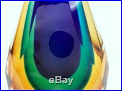 FINE Vtg Murano Italy Sommerso Art Glass Faceted Teardrop Paperweight Sculpture