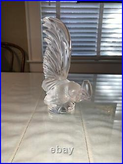 French Lalique Crystal Coq Nain Cockerel Rooster Figurine Paperweight Vintage