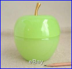 French Opaline Glass Big Green Apple Box Vtg Jadeite Jewelry Casket Bronze Stem
