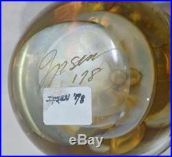 GG VTG 1978 Kent Ipsen Art Glass Yellow & Gold Round 4 Opalescent Paperweight