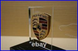 Genuine Porsche Dealership Gift Glass Desktop Pylon Display Paperweight with Name