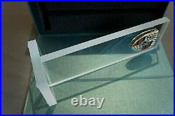 Genuine Porsche Dealership Glass Desktop Pylon Display Stand Billet Paperweight