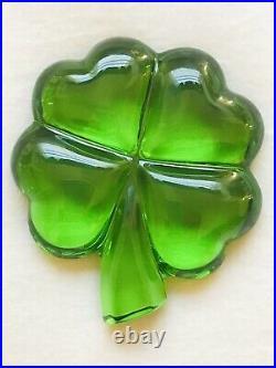 Genuine Vintage Baccarat Crystal Four Leaf Clover Paperweight