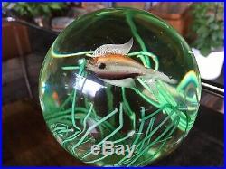 Genuine Vintage Murano Cenedese Single Fish Globe Paperweight