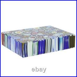 GlassOfVenice Murano Glass Millefiori Rectangle Paperweight Large