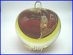 HUGE vintage Murano sommerso uranium glass gold foil apple sculpture paperweight