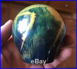 Huge Vintage 3/4 lb Bakelite'Galaxy Swirl' Yellow Green Blue Paperweight tested