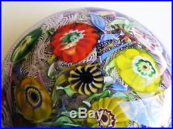 Huge Vintage Magnum Murano Millifiori End-Of-Day Lampwork Paperweight