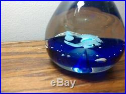 INTRICATE Murano Dolphin Paperweight with Fish Blue Swirl Sommerso Vintage Glass