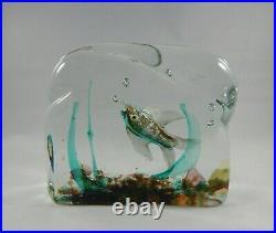 Italian Murano Glass Aquarium Pair, Fish Blocks, Bookends, Paperweights
