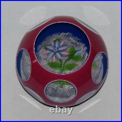 JOHN DEACONS SCOTLAND facetted overlay flower on white lace paperweight