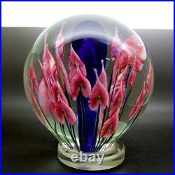 JOHN LOTTON Pink Flowers Glass Orb Globe Sculpture/Paperweight, Apr 7(dia)
