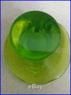 JUMBO Vintage 1970s Viking Glass LIME Green Uranium Vaseline Mushroom WithSTICKER