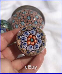 Job Lot 5 x Vintage Millefiori Perthshire Paperweights Canes Stars & Flowers