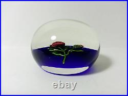 Kaziun Red Rope Rose with Bud on Sapphire Ground Paperweight