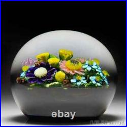 Ken Rosenfeld 2019 mixed flower bouquet on black ground paperweight