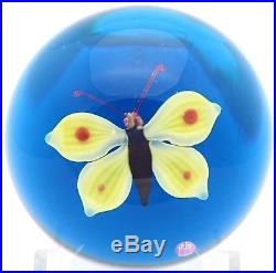 LARGE Delightful BACCARAT Vintage YELLOW BUTTERFLY Art Glass Paperweight
