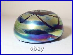 LARGE vintage hand blown aurene iridescent studio art glass G. Levy paperweight
