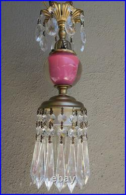 Lamp SWAG chandelier Vintage Pink paperweight glass tole Brass Crystal prisms