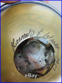 Larcomb & Wicht Vintage Art Glass Iridescent Flower Paperweight