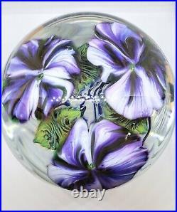 Large David Lotton Petunia 2001 Glass Paperweight Purple Flower 4 Blown Signed