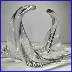 Large Glass Sculpture Ornament Vintage Solid Retro Curved Clear Paperweight 60cm