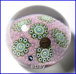 Large St. Louis 1972 Ltd Ed Pink Carpet Ground Paperweight Millefiori Clusters