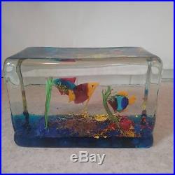 Large Vintage Murano Fish Aquarium Block Art Paperweight Authentic Murano