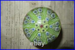 Large Vintage Strathearn Millefiori Glass Paperweight Door Handle Lime Green