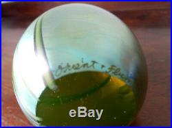 Large vintage signed Orient & Flume iridescent dragonfly egg paperweight