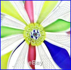 Lg WONDERFUL Vintage SAINT LOUIS Colorful LATTICINO Art Glass PAPERWEIGHT Boxed