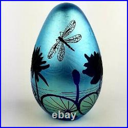 Lubomir Richter Orient & Flume Art Glass Egg Paperweight Dragonfly and Frog