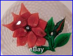 MARVELOUS & HUGE Antique NEGC DOUBLE LAYERED RED POINSETTIA ArtGlass Paperweight