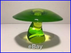 MASSIVE Vintage 1970s Viking Glass Psychedelic Green Uranium Vaseline Mushroom