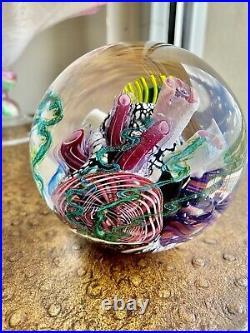 Mark Eckstrand Vintage Rare Signed millefiori Glass Paperweight Aquarium! Wow