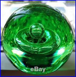 Mesmerizing Emerald Green Vintage Art Glass Paperweight