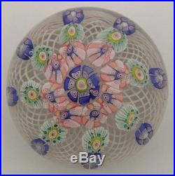 Mid 19thC Art Glass Paperweight with Lattice & Canes