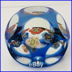 Millefiori Paperweight Faceted Vintage Murano Glass Blue Overlay Cross Hatch