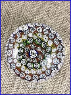 Millefiori Paperweight Vintage Art Glass Multi Cane Rainbow
